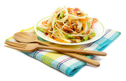 Som Tam, Thai papaya salad. With spoon and fork Stock Photo