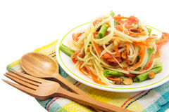 Som Tam, Thai papaya salad. With spoon and fork royalty free stock image