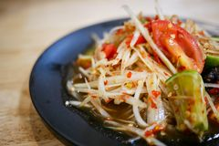 Som tam. Thai .Spicy Papaya salad Stock Images