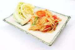 Som Tam Thai (Thai Food). Som Tam Thai or Papaya Salad  (Thai Food) with fresh vegetable on white background. This is a famous dish of Thailand Stock Image