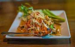 Som Tom. Or papaya salad, one of popular menu for Thai people. The test is spicy and sour Royalty Free Stock Photos