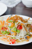 Som Tum with crab. Close up spicy papaya salad with crab , asian spicy food Stock Image