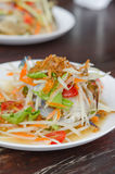 Som Tum with crab. Spicy papaya salad with crab , asian spicy food Royalty Free Stock Photo
