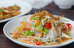 Som Tum with crab. Spicy papaya salad with crab on dish , asian spicy food Royalty Free Stock Image
