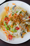 Som Tum with crab. Top view spicy papaya salad with crab , asian spicy food Royalty Free Stock Photo