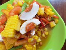 Som Tum. Papaya salad. Corn salad. spicy Thai food. Som tum or papaya salad or corn salad is a traditional spicy thai food cooked with carot salted egg and royalty free stock photos