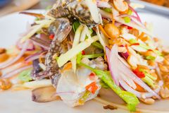 Som Tum Papaya salad with crab. spicy thai food Royalty Free Stock Images