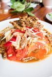 Som Tum Papaya salad with crab. spicy thai food.  royalty free stock photography