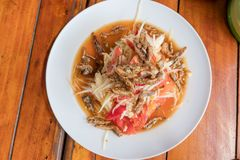 Som Tum Papaya salad with crab. spicy thai food.  stock photos
