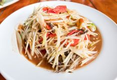 Som Tum Papaya salad with crab. spicy thai food.  Stock Image