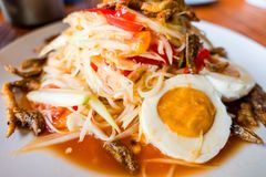 Som Tum Papaya salad with crab. spicy thai food.  stock images