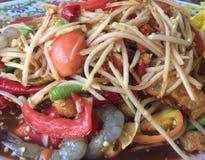 Som Tum or papaya salad. Som Tum or papaya mixed,Thaifood Royalty Free Stock Photography