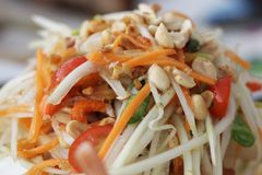 Som tum, Papaya salad, one of spicy salad from Thai eastern restaurant, prepared food. For commercial advertisment royalty free stock image