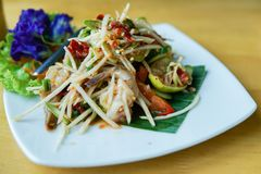 Som Tum or Papaya Salad, Papaya Pok Pok. Thai Traditional Cuisine, Popular Thai Food royalty free stock photography