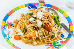 Som Tum or Papaya Salad, Papaya Pok Pok, Thai Traditional Cuisin Stock Image
