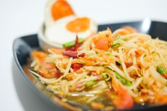 Som Tum papaya salad with salted egg. Spicy Thai food Stock Images