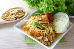 Som Tum is papaya salad served with vegetable. Thai food Stock Photography
