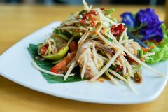 Som Tum or Papaya Salad. Papaya Pok Pok, Thai Traditional Cuisine, Popular Thai Food royalty free stock photos