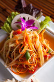 Som Tum Papaya Salad. Traditional dish of freshly prepared Thai food. Som tum green papaya salad stock image