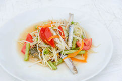 Som tum poo ma. Spicy papaya salad with blue crab, som tum poo ma Royalty Free Stock Photography