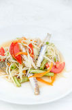 Som tum poo ma. Spicy papaya salad with blue crab, som tum poo ma Stock Images