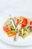 Som tum poo ma. Spicy papaya salad with blue crab, som tum poo ma Royalty Free Stock Photo
