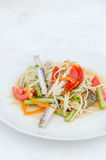 Som tum poo ma. Spicy papaya salad with blue crab, som tum poo ma Stock Photo