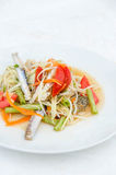 Som tum poo ma. Spicy papaya salad with blue crab, som tum poo ma Royalty Free Stock Images