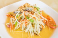 Som Tum Poo (papaya salad with crab). Thai food royalty free stock photo