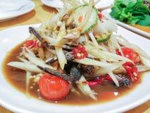 Som Tum Poo, thailändischer Papayasalat mit Krabbe Lizenzfreies Stockfoto
