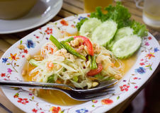 Som tum salad - traditional Thai food. Som tum salad in a street restaurant, traditional thai cuisine royalty free stock image