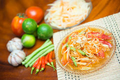 Som Tum spicy papaya salad Thai food. Cuisine Royalty Free Stock Photography