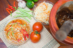Som Tum spicy papaya salad Thai food. Cuisine Stock Photography