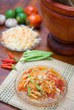 Som Tum spicy papaya salad Thai food. Cuisine stock photo