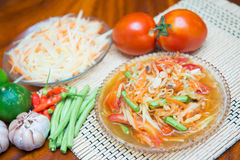Som Tum spicy papaya salad Thai food. Cuisine royalty free stock photos