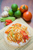 Som Tum spicy papaya salad Thai food. Cuisine Stock Photos