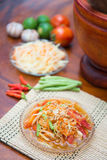 Som Tum spicy papaya salad Thai food. Cuisine Stock Image