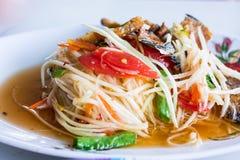Som Tum - Stock Image. Papaya salad at a food stand - Stock Image Stock Image