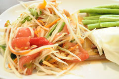 Som tum thai. Green papaya salad thai food stock photo
