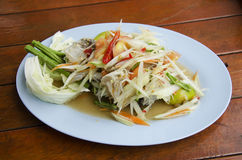 Som Tum or thai food fruit spicy green papaya salad with blue cr. Thai cuisine Som Tum or thai food fruit spicy green papaya salad with blue crab in plate stock images