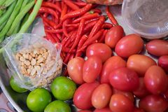 Som tum Thai food Ingredients. Thai spicy food Royalty Free Stock Images