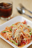 SOM TUM,Thai foods or papaya salad with fresh shrimp in spicy  Royalty Free Stock Photo
