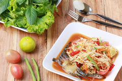 SOM TUM,Thai foods or papaya salad in spicy taste and is popular. In thailand on wooden table background stock photos
