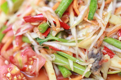 SOM TUM,Thai foods or papaya salad in spicy taste and is popular. In Thailand on wooden table background stock photo