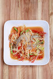 SOM TUM,Thai foods or papaya salad in spicy taste and is popular. In Thailand on wooden table background royalty free stock images