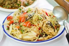 Som Tum Thai Green Papaya Salad with salted crab and tomato. Stock Images