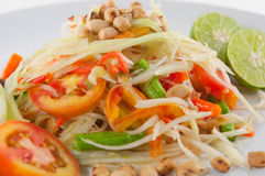 Som Tum Thai Isan Food, Closeup Thai papaya salad serve with vegetables. Closeup Thai papaya salad serve with vegetables Stock Photo