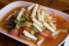 Som Tum Thai Isan Food, Thai papaya salad with Lotus.  Royalty Free Stock Images