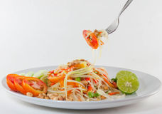 Som Tum Thai Isan Food, Thai papaya salad serve with vegetables Royalty Free Stock Images