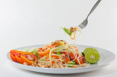 Som Tum Thai Isan Food, Thai papaya salad serve with vegetables Royalty Free Stock Image